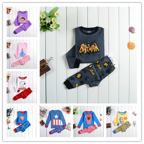 2015 Spring & Autumn Baby Boys Girls Cartoon Clothing Sets Kids Clothes Suits Pajamas Minnie Mouse Frozenly Batman Sleepwear(China (Mainland))