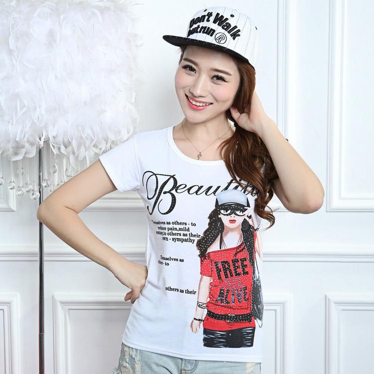 summer style Print t shirt women t-shirt 2015 vetement femme ropa mujer  roupas femininas camisetas y tops tees tshirt plus size(China (Mainland))