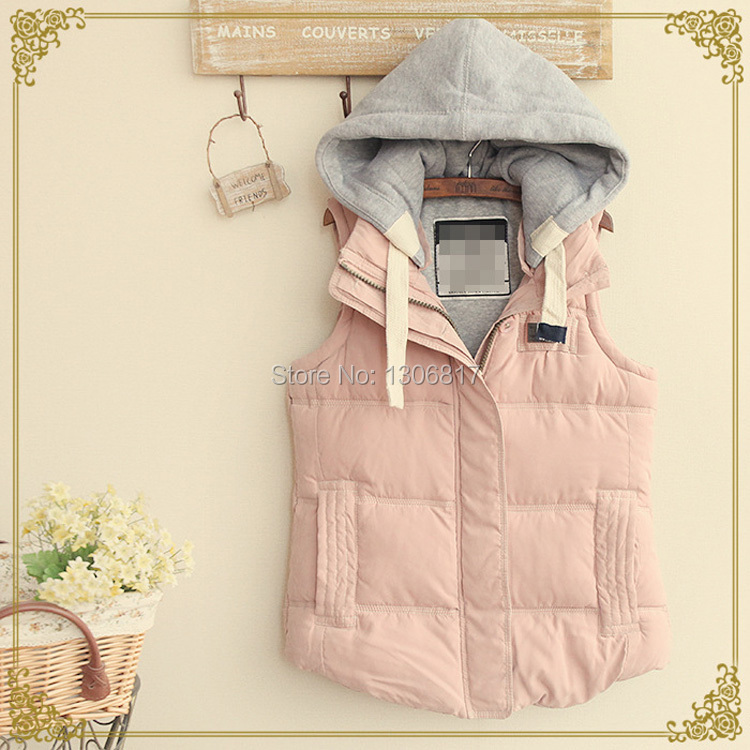 Winter Sen female style thick hooded sleeveless vest Solid Fashion Active Casual coat women Jacket Girl