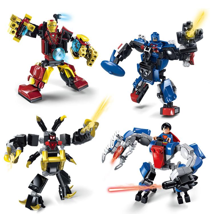 JX 4pcs/lot Marvel Super Heroes Avengers Iron Man Superheroes Spiderman Mech Battle Building Blocks Toys Minifigures Legoelieds<br><br>Aliexpress