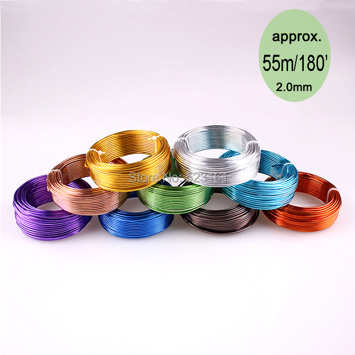 wholesale 55m 180ft 60yd of 2mm colored aluminium handcraft soft wire coil 12 gauge wire for jewelry supplies free shipping(China (Mainland))