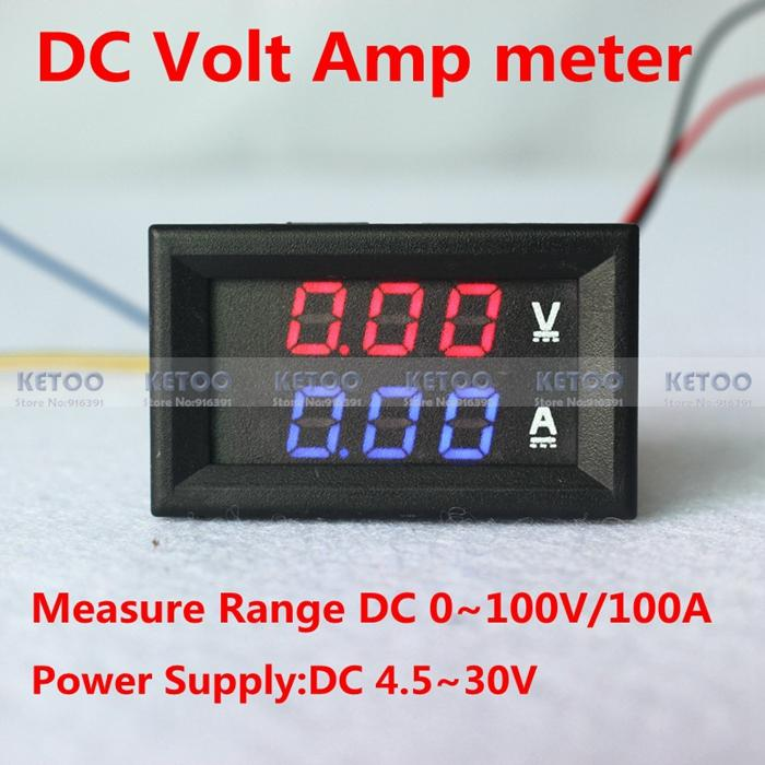 Car LED Electrical Ammeter Voltmeter Ampere Digital Voltage Amp Volt Meter DC 100V 100A Red Blue