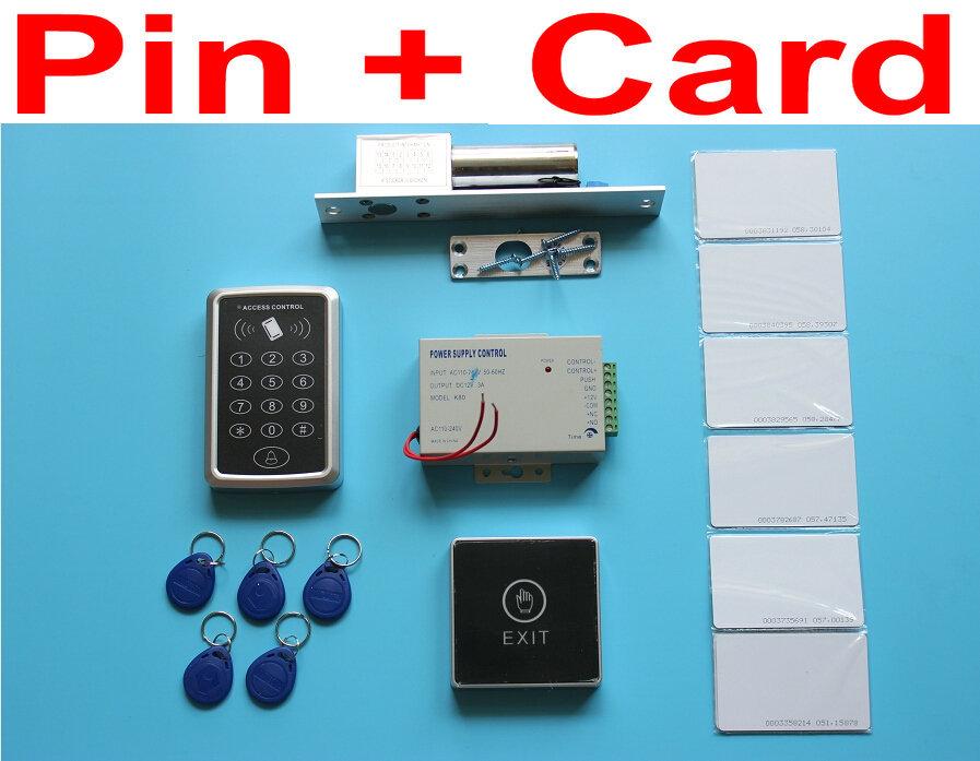 Фотография Cheap Price Drop Bolt Lock RFID Access Control System Kit Set + Drop Bolt Door Lock + ID Card Keytab + Power + Touch Button Rele