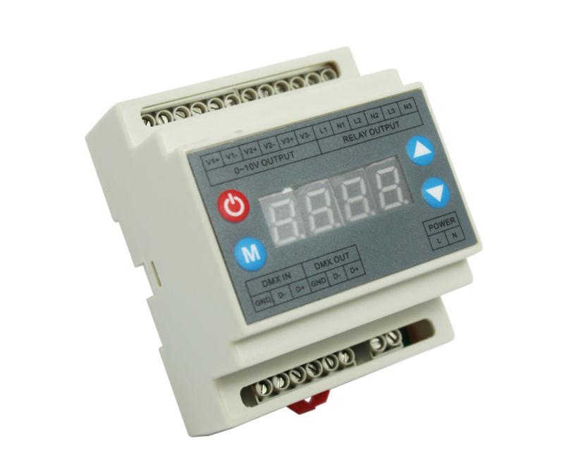 DMX303 3channels high-voltage dimmer,AC90-240V Power supply 3 channels 0-10V output signal,DMX dimmer controller for LED strip(China (Mainland))