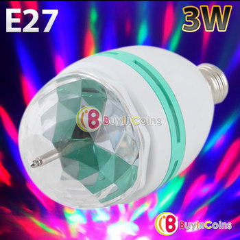 3W Colorful E27 Rotating RGB 3 LED Spot Light Bulb Lamp for Chrismas Party #30365