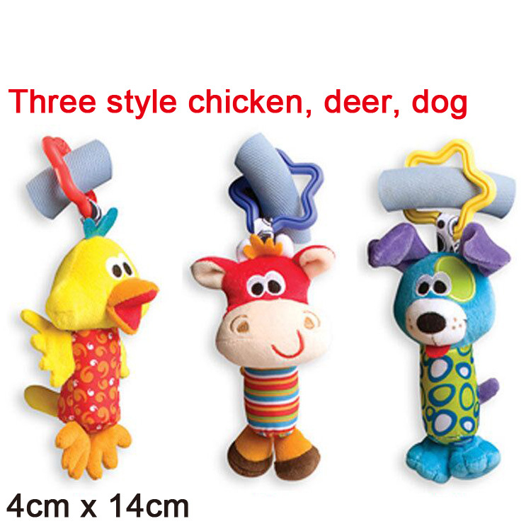 2015 Baby Toys playgro 3pcs/lot Tinkle Trio Hand Bell Multifunctional Stroller Mobile cot hanging toy baby rattle toy soft plush(China (Mainland))