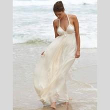 Sexy White Chiffon Beach Wedding Dresses A Line 2015 New Arrival Halter Wedding Gowns Off Shoulder Dress Bride Robe De Mariage(China (Mainland))