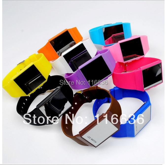 10 pcs Silicone LED mirrow DigitalRED light watch Sport Watch Men Women Jelly Rubber backlight New 2014 Fashion Wholesale LOT<br><br>Aliexpress