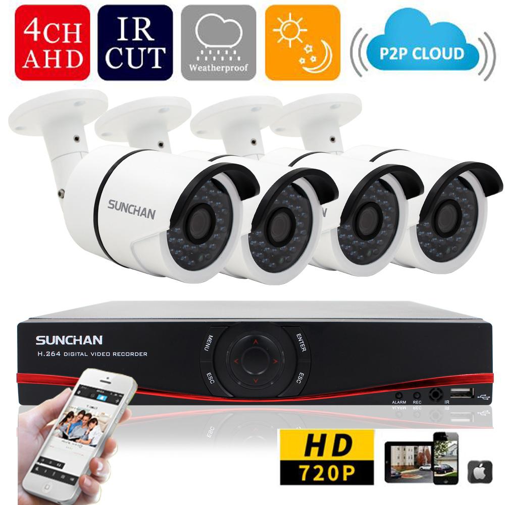 SUNCHAN New 4CH HD 720P AHD-DVR  1.0 Mega 4pcs 720P AHD IR Cameras 36 Leds 1080P CCTV Camera Video Surveillance System Kits<br><br>Aliexpress