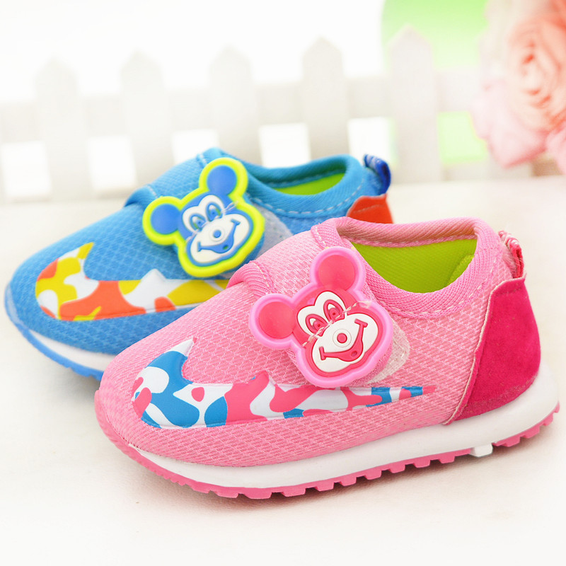 11-13cm pink and blue newborn infant boys baby sneakers for girls first walkers minnie mickey mouse shoes for toddlers 0-18month(China (Mainland))