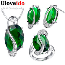 Wedding Necklace& Pendant Earrings Rings Set, 925 Silver Blue Emerald Green Muiticolor Crystal Jewelry Set for Women Bridal T472(China (Mainland))