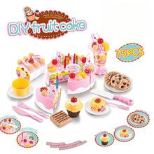 75Pcs Kitchen Toys Pretend Play Cutting Birthday Cake Food Toy Kitchen For Children Cocina De Juguete Plastic Play Food Tea Set(China (Mainland))