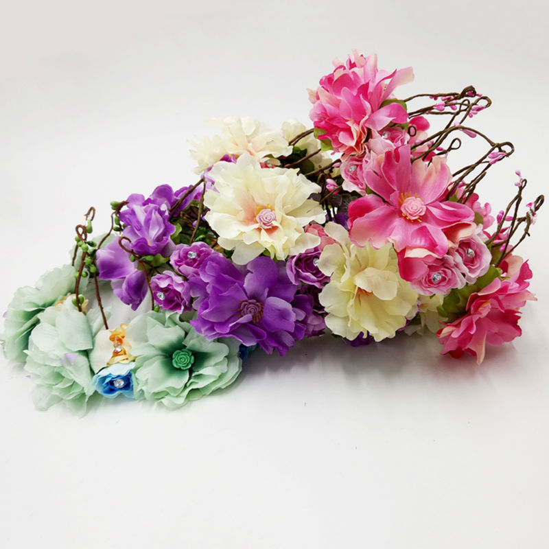 2015 Women Wedding Rose Flower Wreath headband Kid Party Floral garlands girl handmade flower Crown HALO Hair Accessories 5COLOR(China (Mainland))