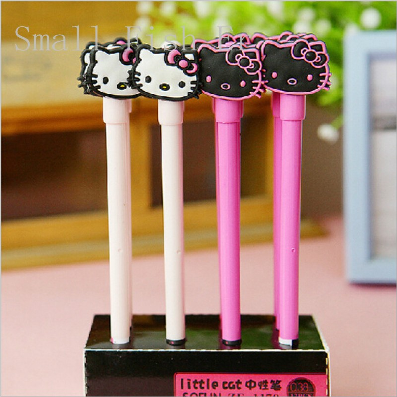 Гаджет  Cute hello Kitty Gel pen 0.38mm black ink pen Creative Small cat Neutral pen stationery office school writing supplies Sign Pen None Офисные и Школьные принадлежности