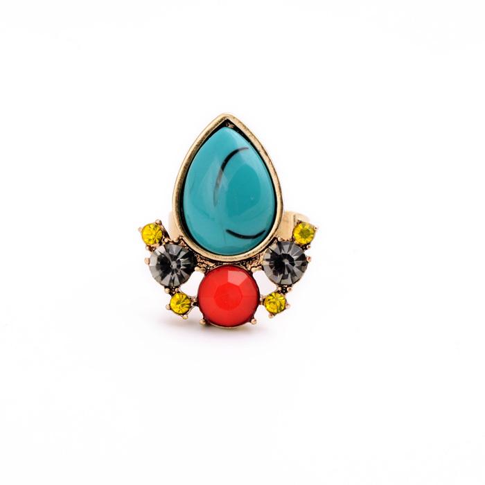 Noble Luxury Green Imitation Gemstone Turquoise Fashion Ring 2015 New Designer Women Jewelry Factory Wholesale(China (Mainland))