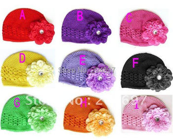 Retail Fashion Infant Kufi Hats with Peony Flowers Hair Bows Clip Crochet Toddler Girl Beanie Baby Knitted Hats Free Shipping