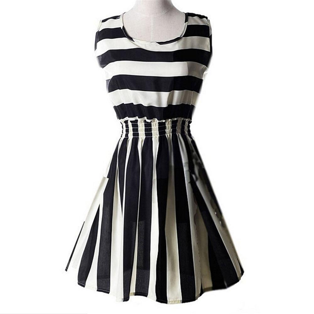 Dresses striped pattern chiffon sleeveless plus size xxl black white