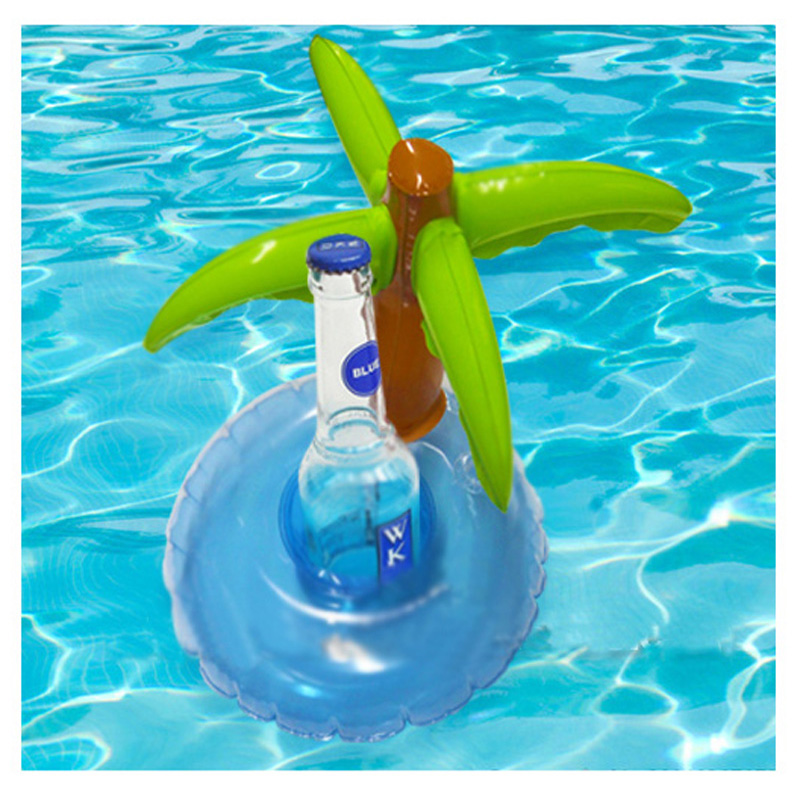 Newest 50pcs/lot Inflatable Palm Tree Beer Drink Cup Holder Summer Pool Float Outdoor Swimming Beach Float Mini Drink Pool toy(China (Mainland))