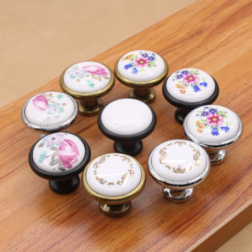 10pcs/lot Antique Brass Ceramic Cabinet Knobs Single Hole Door Knob Cupboard Box Wardrobe Closet Pull Handle Furniture Hardware(China (Mainland))