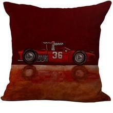 Cartoon Car Pattern Linen Throw Pillow