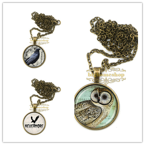 24pcs/lot ZA0404 poe is raven pendant raven necklace goth jewelry vintage owl necklace for friends(China (Mainland))