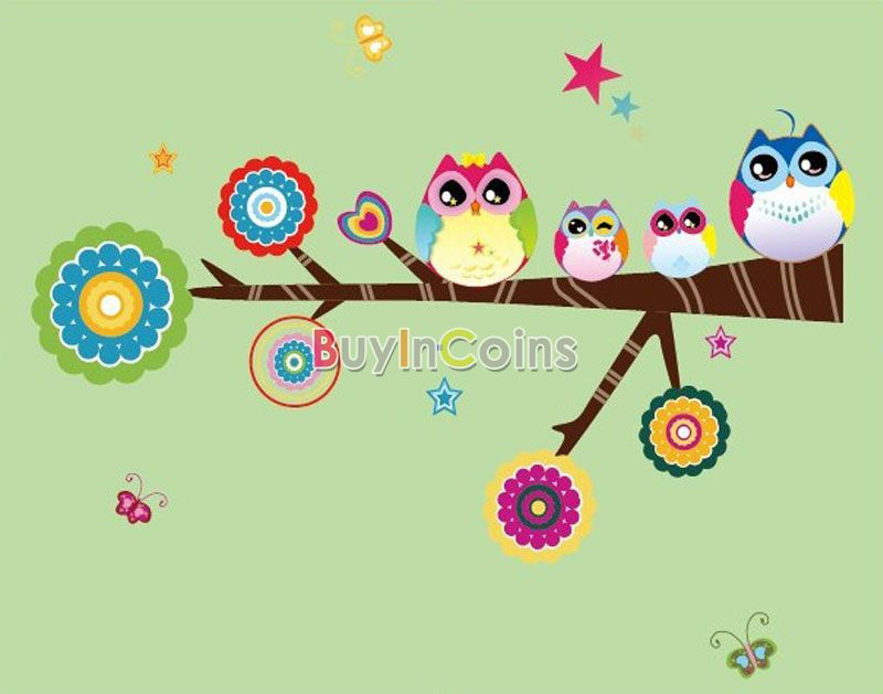 DIY Cute Owl Family Buterfly PVC Wall Sticker Decals Room Home Decor Colorful US AS #48589(China (Mainland))