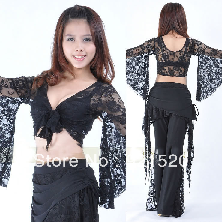 HOT SALE:New Ladies Lace Top Bolero Flared Sleeves Blouse Dance Costume(Only top without pants) - fairy store