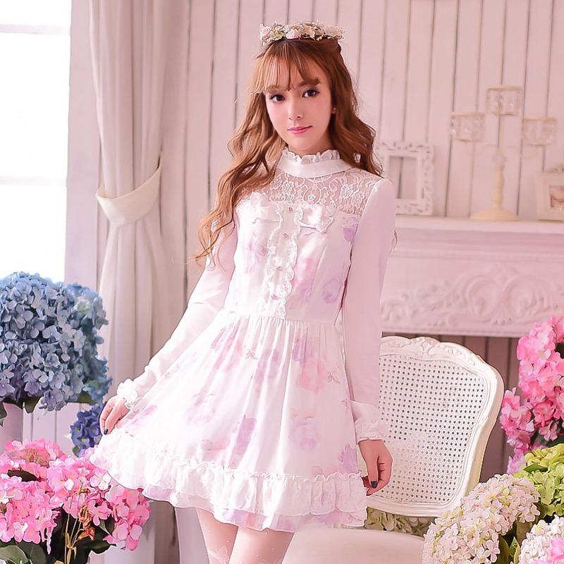 Princess sweet lolita dress Candy rain sweet princess Japanese style stand collar lace Long sleeve patchwork dress WL145Одежда и ак�е��уары<br><br><br>Aliexpress