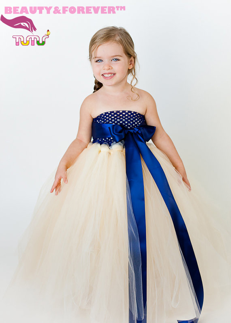 Handmade lined royal blue top ivory tulle flower girl tutu dress with ribbon bow sash for wedding/party/birthday(China (Mainland))