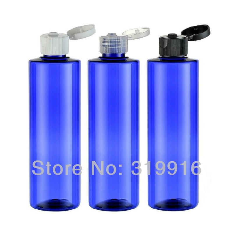 250ml X 20 blue round empty cosmetic packaging plastic bottles containers with flip top cap , shampoo cosmetic lotion bottle(China (Mainland))