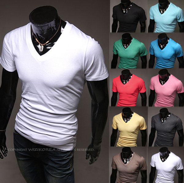 Newest Summer Men's Tee Simple Style Solid Color V Neck Tight T Shirt High Quality Slim Fit Free Shipping M L XL XXL H0354(China (Mainland))