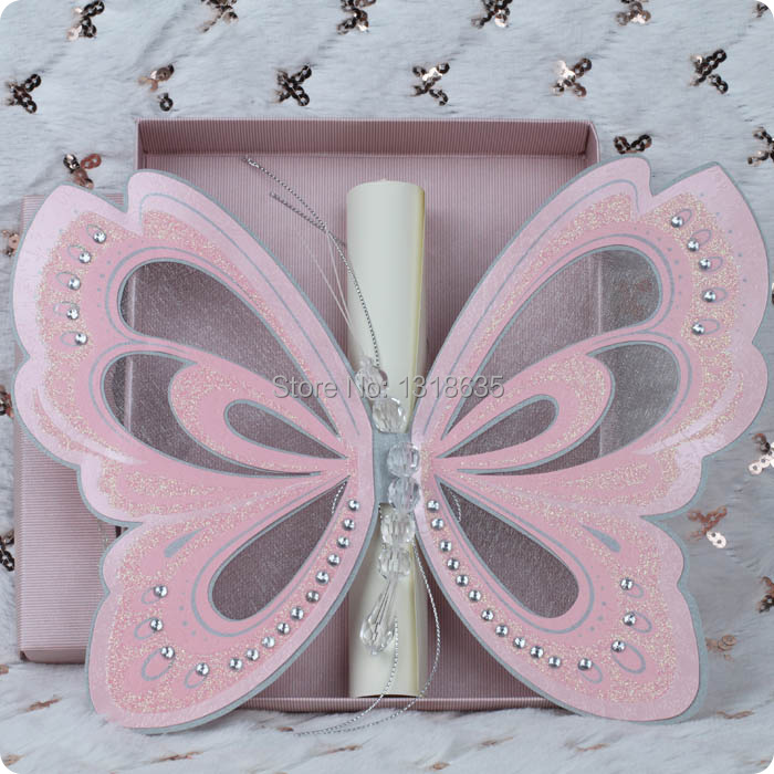 Elegant butterfly pink wedding invitations scroll card blank insert with paper box 50sets(China (Mainland))