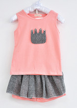 3 8y new 2015 Children s fashion pearl crown vest short skirt suit baby girls clothing