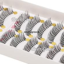 10 Pairs Makeup Cross False Eyelashes Black Long Thick Fake Eyelash Extension(China (Mainland))
