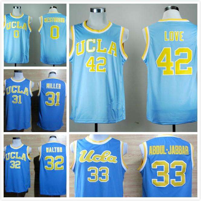 UCLA Bruins College Basketball Jerseys 42 Kevin Love 33 Kareem Abdul Jabbar 0 Russell Westbrook 31 Reggie Miller 32 Bill Walton(China (Mainland))