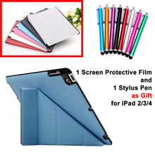 Case for Apple iPad 2 3 4 PU Leather Smart Stand Case Cover for iPad2 iPad3 iPad4 with Screen Protective Film Stylus Pen as Gift(China (Mainland))