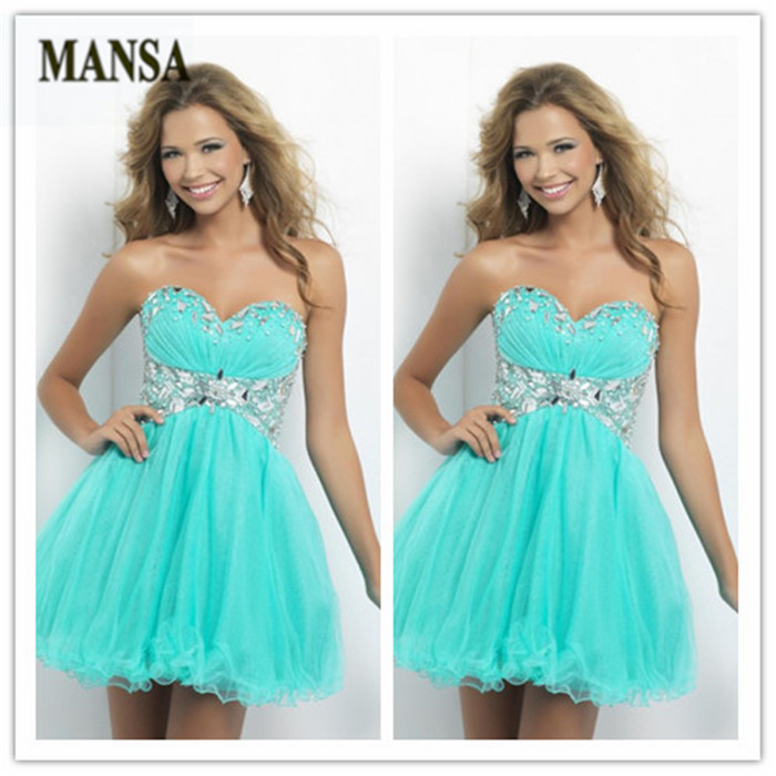 100%High Quality MANSA Mint Green Strapless Crystal Sweetheart Organza Homecoming Dress Cocktail Prom Dresses Under 100 2015 New(China (Mainland))