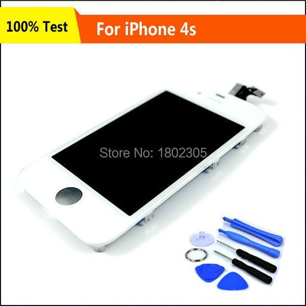White LCD Touch Screen With Digitizer Display Glass Assembly Complete Replacement For iPhone 4 4G With Free Tools,Free Ship(China (Mainland))