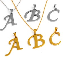 1 PCS Women Men Lovers Gift Gold /silver  Alphabet Letter Name Initial Chain stainless steel Pendant Necklace Fashion Jewelry(China (Mainland))