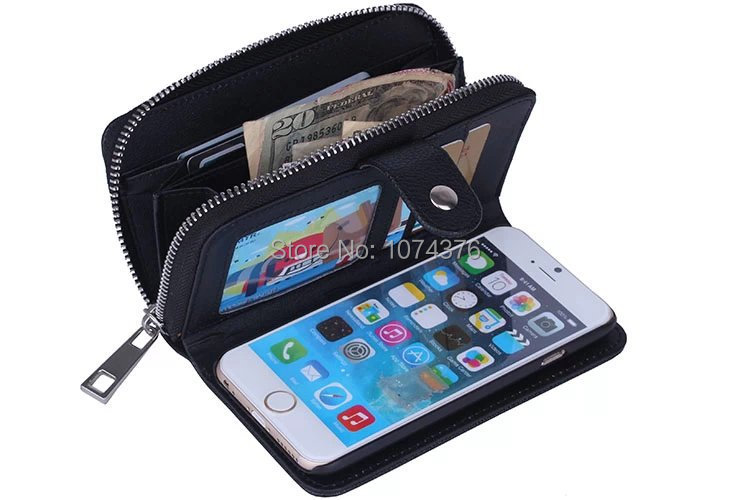 For Apple iPhone 5 Case Wallet Design Cell Phone Protective Cover Stand Flip Phone Cases With Zipper And Card Slot Free Shipping(China (Mainland))