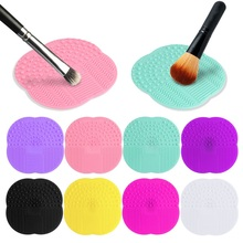 Brand New 8 Colors Soft Sponge Silicone Makeup Brush Cleaner Pad Washing Scrubber Board Cleaning Mat Tool Later Life(China (Mainland))
