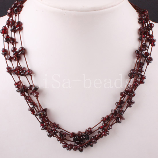 "Free Shipping New without tags 5X8MM Chip Beads Nylon Line Weave Red Garnet Necklace 19"" 1Pcs RE076(China (Mainland))"