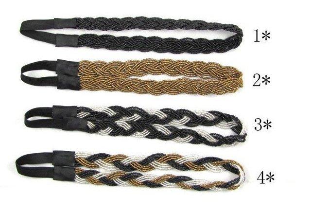 Free shipping,beaded weaving elastic hairband hair girl , women hairbands headbands,  hair hoop, accessories headwear  10pcs/lot