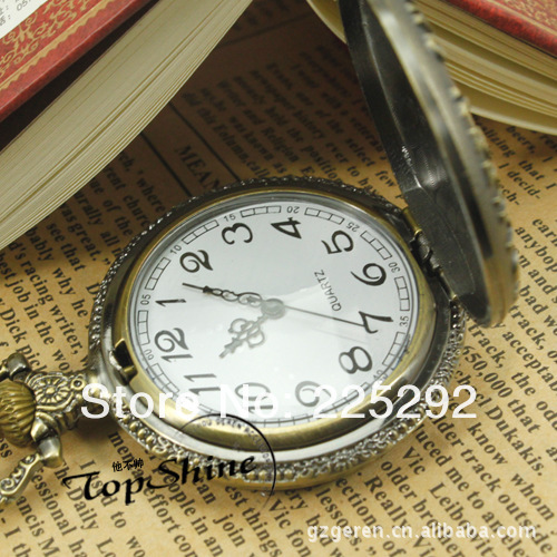 Free Shipping 5pcs/lot wholesale Manufacturers selling new flat double ghost head restoring ancient ways design pocket watch(China (Mainland))