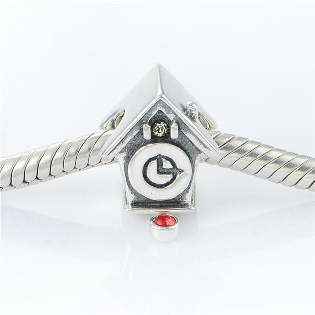 Стерлингового серебра 925 ювелирных изделий часы дом бусины для женщин DIY создание приспосабливать европейские браслеты и ожерелье