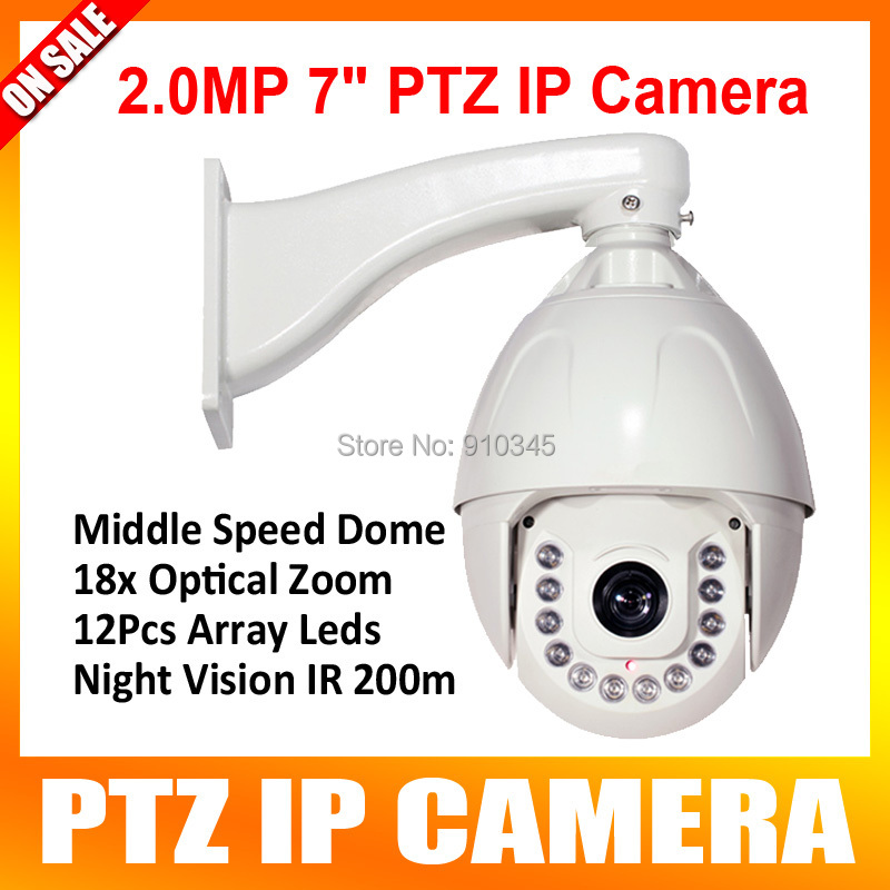 7 Inch Onvif HD 1080P IP Middle Speed Dome PTZ Camera 2.0MP 18x Optical Zoom IR 120M 12 Array Led Waterproof Outdoor P2P View(China (Mainland))