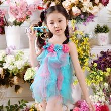 Hot! 3PCS Children Swimsuit Girl Swimwear Swimming Suit Babies Childs Split Princess Dress Suits Kid Swimwear Bikini Skirts(China (Mainland))