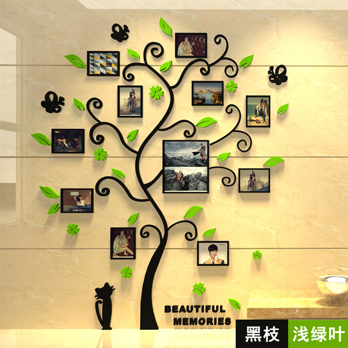 Free shipping 3D Acrylic crystal wall stickers living room bedroom cozy pictures tree stickers creative home decoration