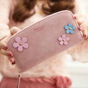 2016 Women Wallet Long Leather Portfolio Flower Female Purse Wristlet Clutch Purse For Girl(China (Mainland))