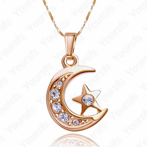 , :18K Gold Planted Clear Crystal Moon Star Pendant Necklace Christmas gift - Shenzhen Sun Jewelry International Co.,Ltd store